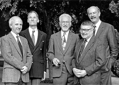 Photo of 5 faculty retirees in 1994